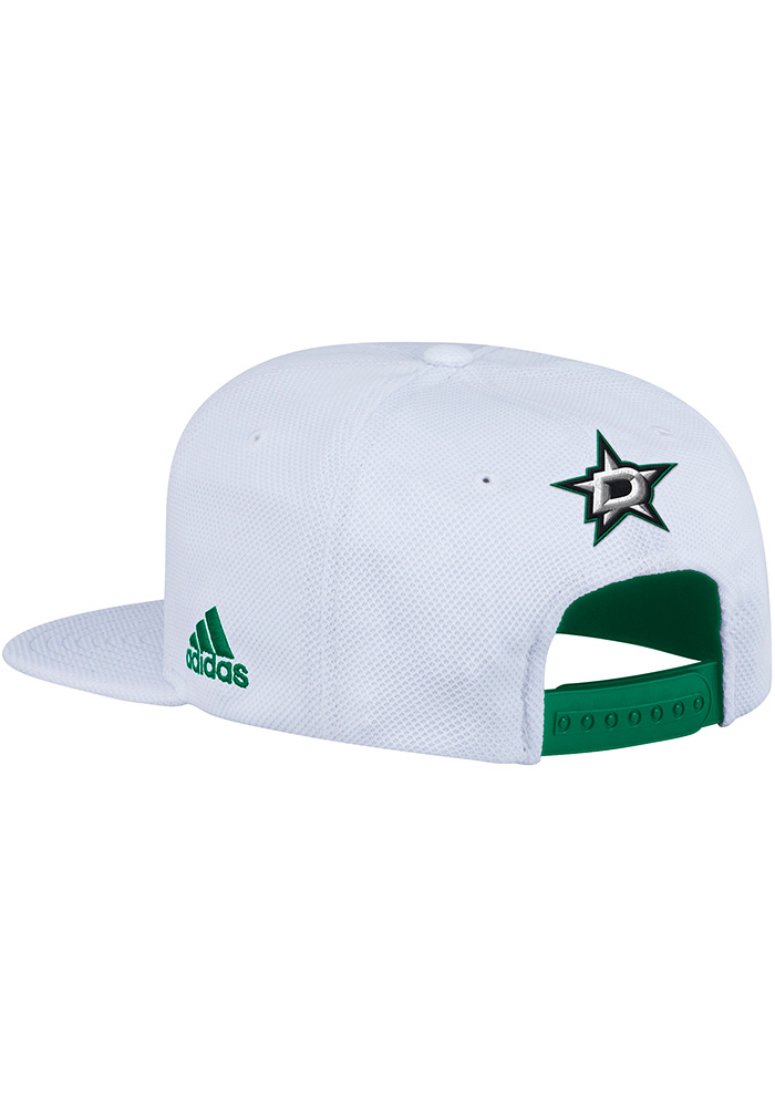 Adidas Dallas Stars White Hockey Stripe Mens Snapback Hat - Image 2