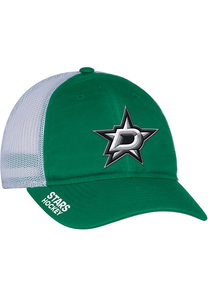 Adidas Dallas Stars Mens Kelly Green Meshback Slouch Flex Hat - Image 1