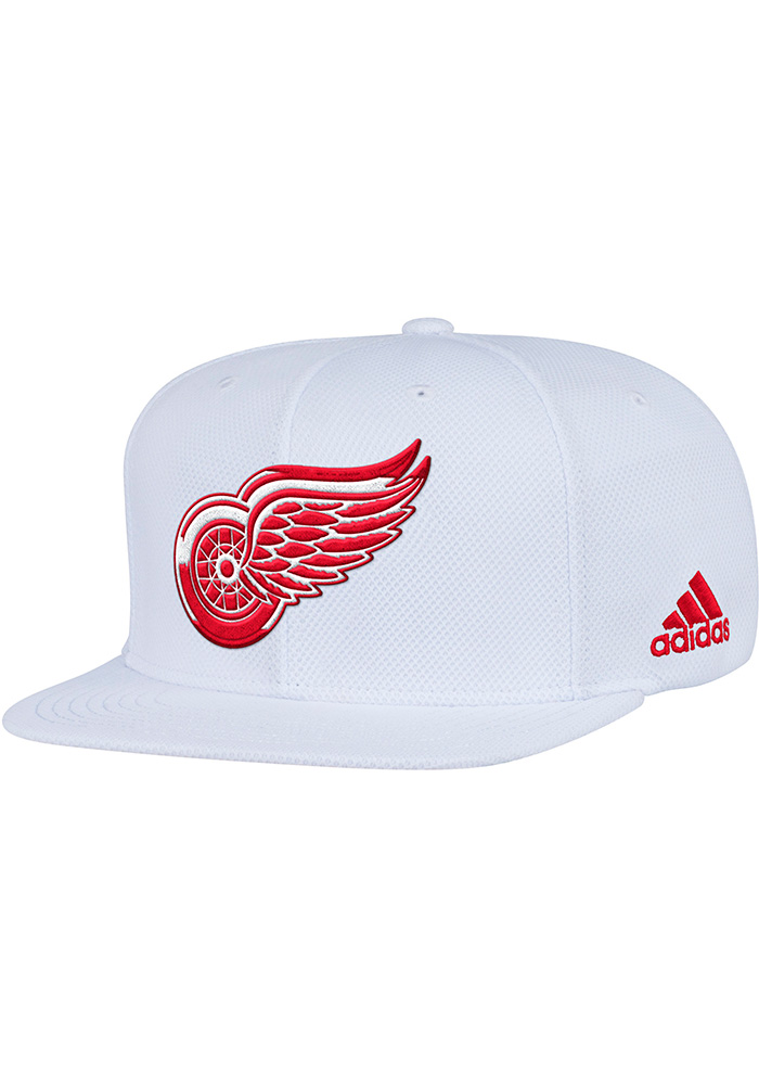 Adidas Detroit Red Wings White Hockey Stripe Mens Snapback Hat - Image 1
