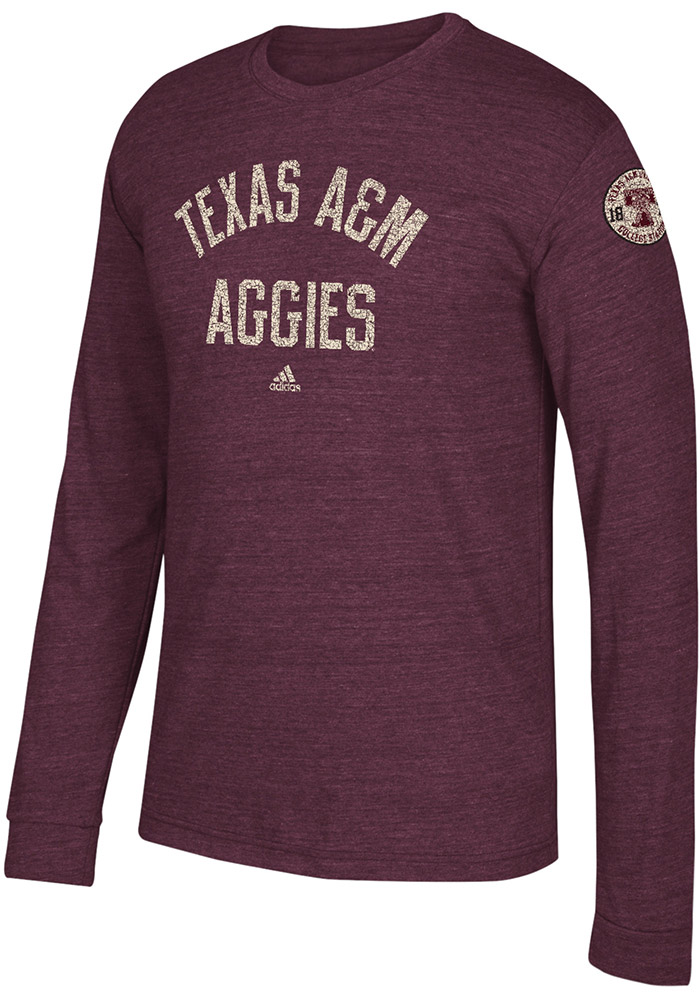 Adidas Texas A&M Aggies Maroon Arched Heritage Long Sleeve Fashion T Shirt - Image 1