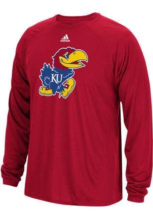 Adidas Kansas Jayhawks Mens Red Sideline Spine Tee