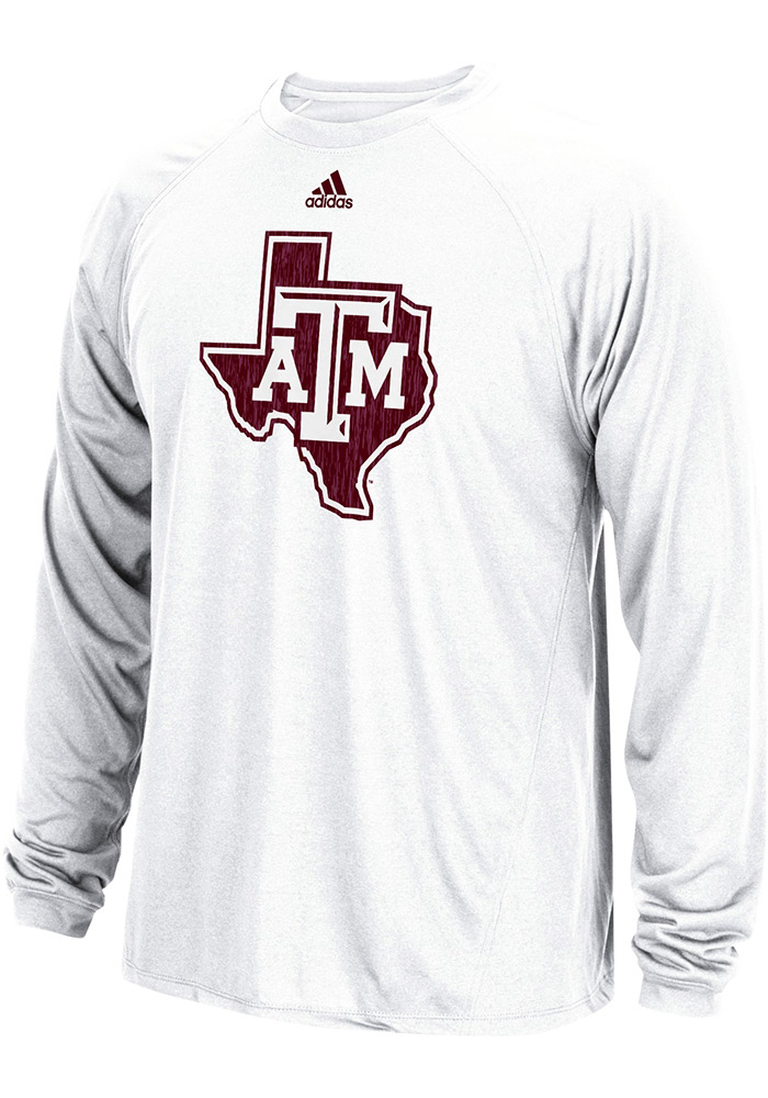 d456724c448d Adidas Texas A M Aggies White Sideline Spine Long Sleeve T-Shirt - Image 1