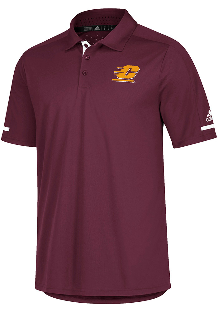 Adidas Central Michigan Chippewas Mens Maroon Sideline Climachill Short Sleeve Polo - Image 1