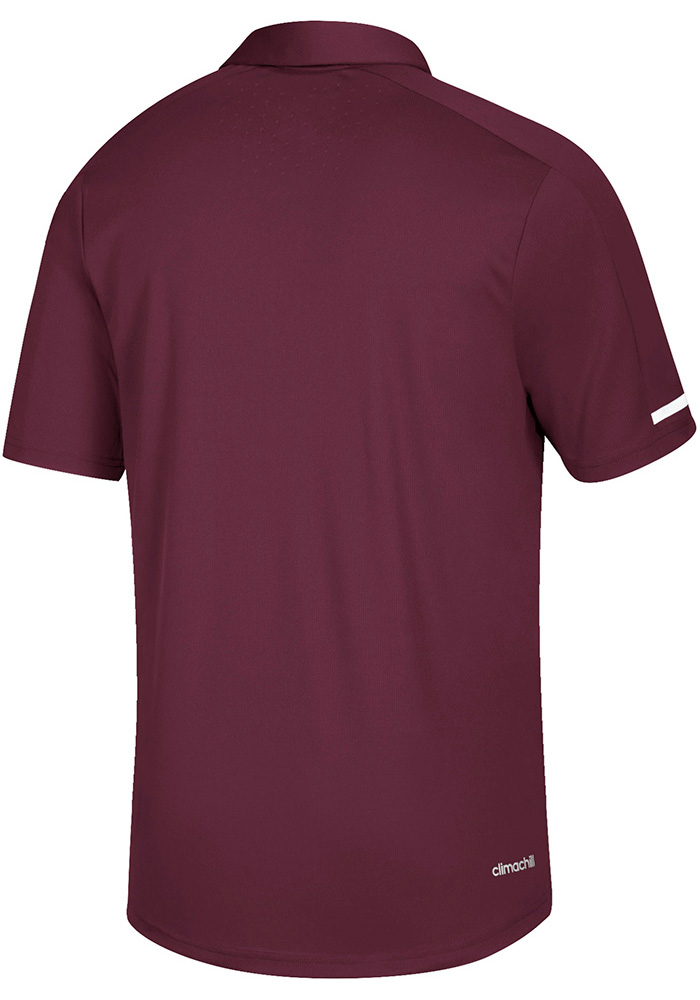 Adidas Central Michigan Chippewas Mens Maroon Sideline Climachill Short Sleeve Polo - Image 2