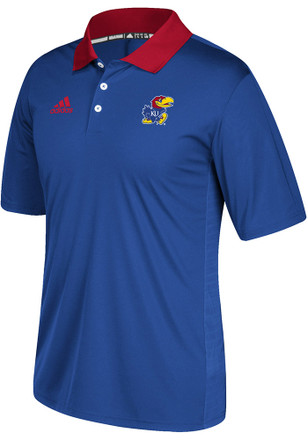 Adidas Kansas Jayhawks Mens Blue Sideline Coaches Short Sleeve Polo Shirt