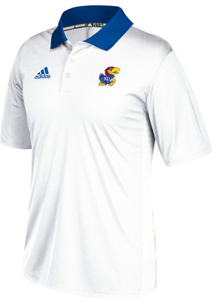 Adidas Kansas Jayhawks Mens White Sideline Coaches Short Sleeve Polo Shirt