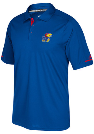 Adidas Kansas Jayhawks Mens Blue Sideline Climachill Short Sleeve Polo Shirt