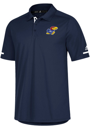 Adidas Kansas Jayhawks Mens Navy Blue Sideline Climachill Short Sleeve Polo Shirt