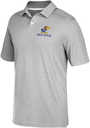Adidas Kansas Jayhawks Mens Grey Crackled Badge - No Bos Short Sleeve Polo Shirt