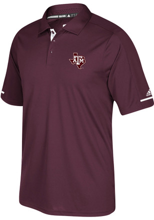 Adidas Texas A&M Aggies Mens Maroon Sideline Climachill Short Sleeve Polo Shirt