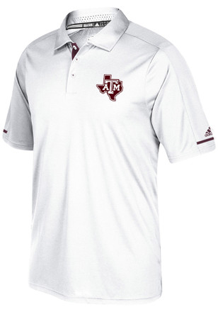 Adidas Texas A&M Aggies Mens White Sideline Climachill Short Sleeve Polo Shirt