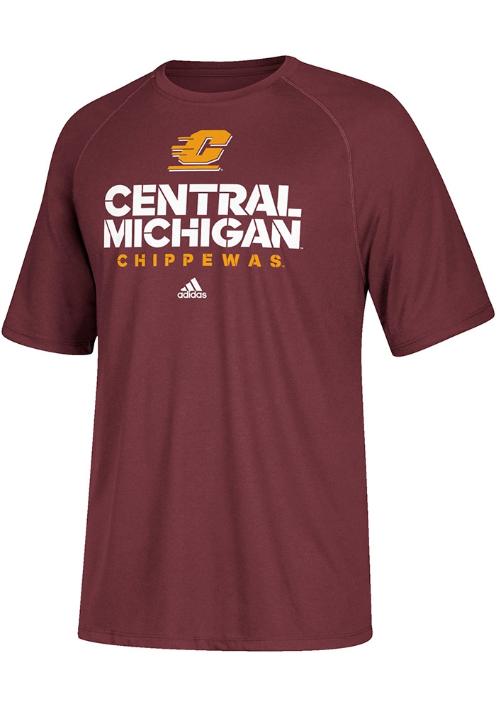 Adidas Central Michigan Chippewas Maroon Sideline Short Sleeve T Shirt - Image 1