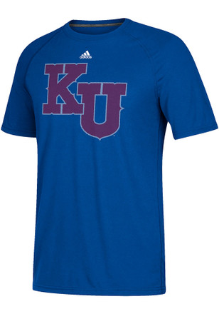 Adidas Kansas Jayhawks Mens Blue Linear Play Logo Tee