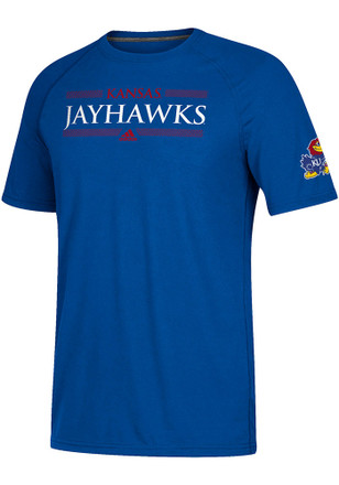 Adidas Kansas Jayhawks Mens Blue Linear Bars Tee