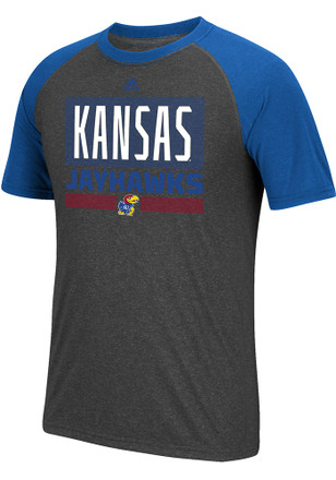Adidas Kansas Jayhawks Mens Grey Linear Stack Tee