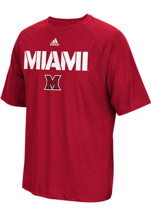 Adidas Miami Redhawks Mens Red Sideline Tee