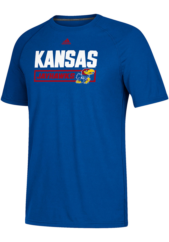Adidas Kansas Jayhawks Blue New Angle Short Sleeve T Shirt - Image 1