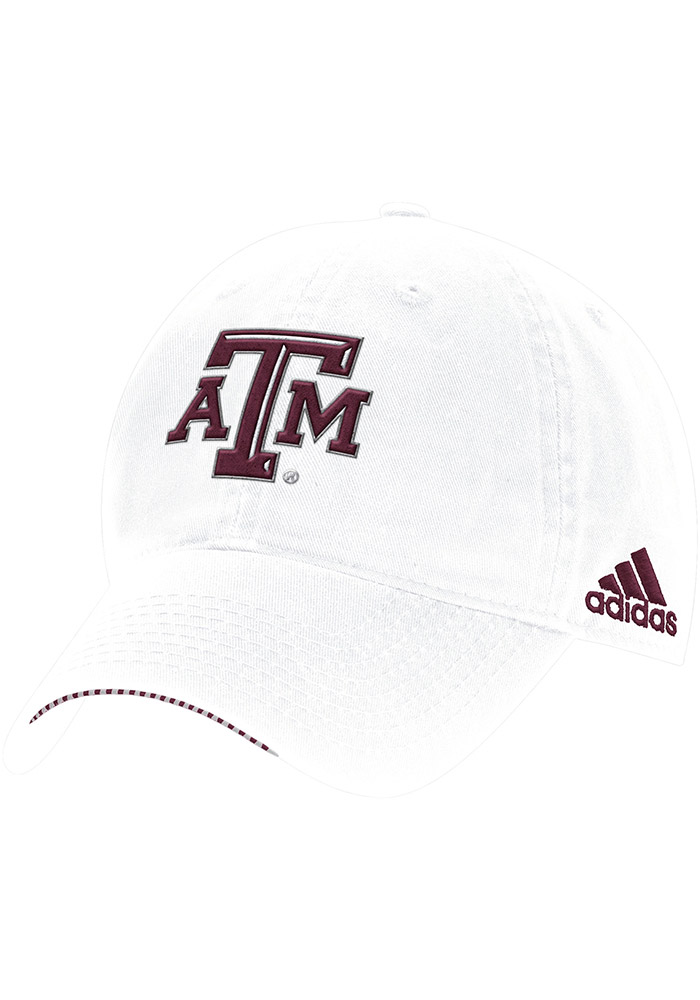 Adidas Texas A&M Aggies Mens White 2017 Coach Slouch Adjustable Hat - Image 1