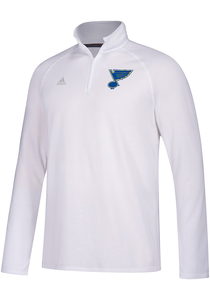 Adidas St Louis Blues Mens White Primary Logo Long Sleeve 1/4 Zip Pullover, White, 100% POLYESTER, Size L