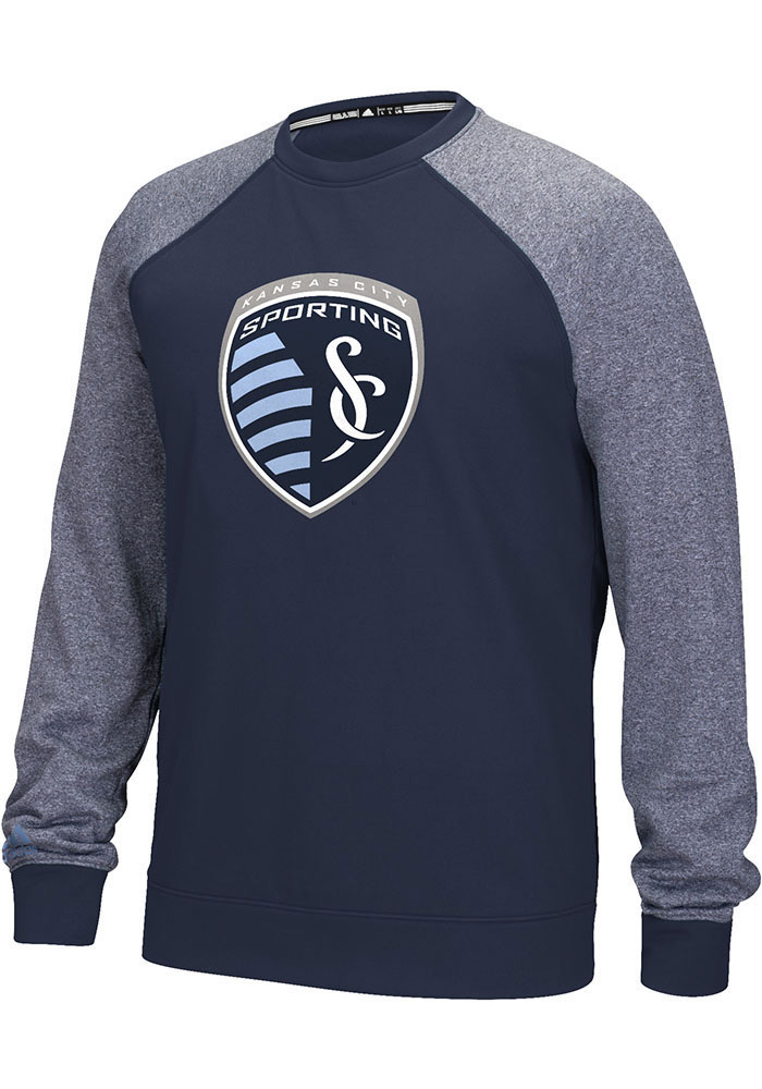 Adidas Sporting Kansas City Mens Navy Blue applique Long Sleeve Sweatshirt - Image 1