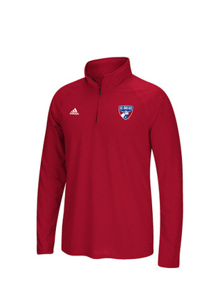 Adidas FC Mens Red screen print 1/4 Zip Performance Pullover