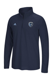 Adidas SKC Mens Blue screen print 1/4 Zip Performance Pullover
