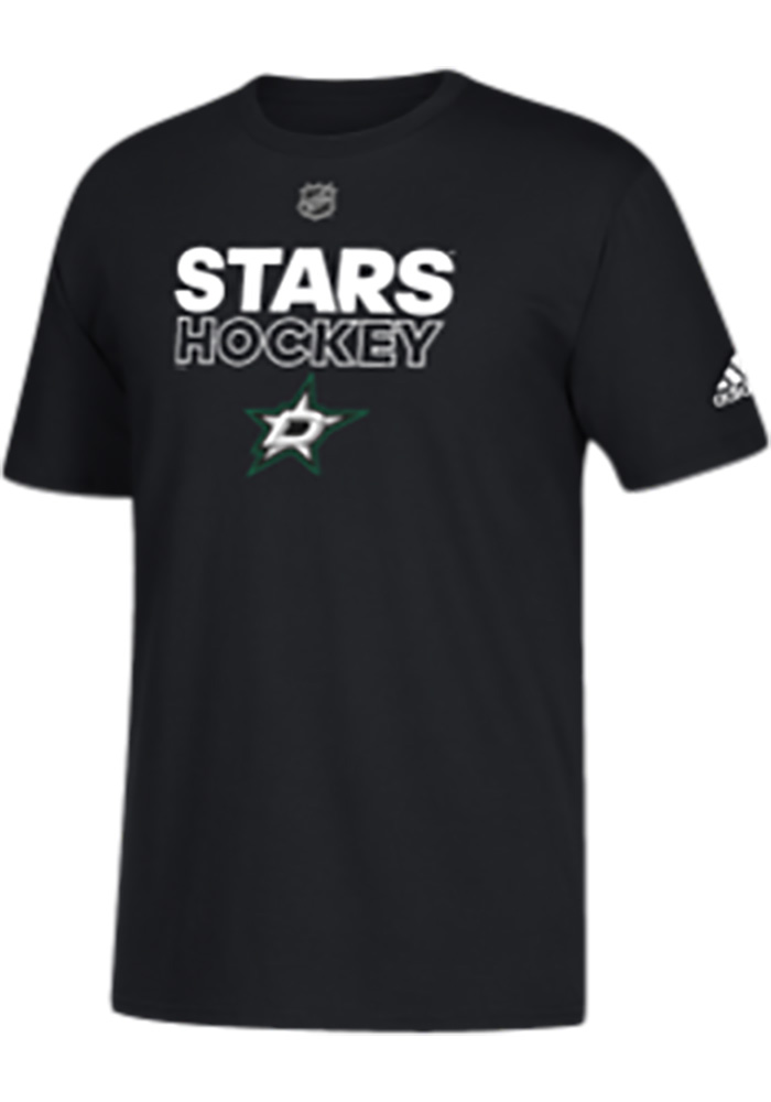 Adidas Dallas Stars Black Authentic Pro Short Sleeve T Shirt - Image 1
