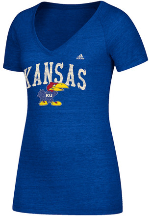 Adidas KU Jayhawks Womens Blue Triblend V-Neck