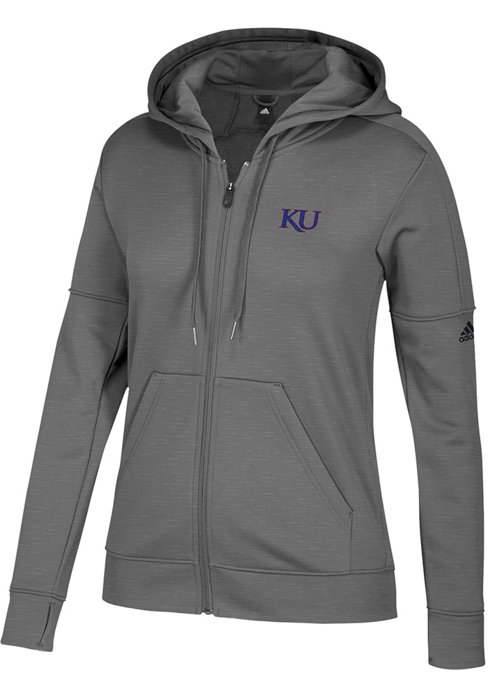 Adidas Kansas Jayhawks Womens Grey Primary Logo Long Sleeve Full Zip Jacket - Image 1