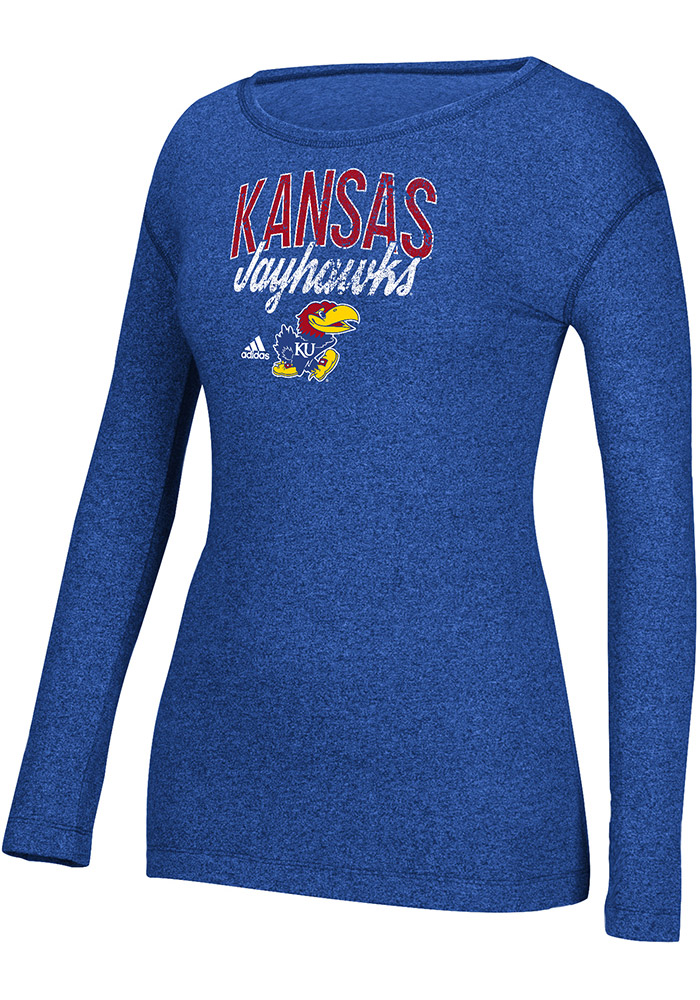 Adidas Kansas Jayhawks Womens Banner Distress Blue T-Shirt