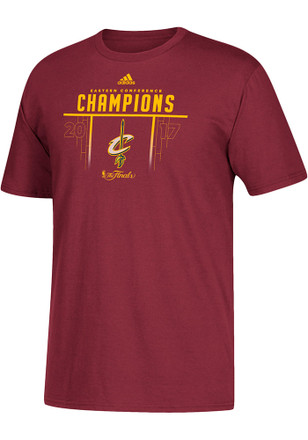 Adidas Cleveland Cavaliers Mens Maroon 2017 Conference Champions Tee