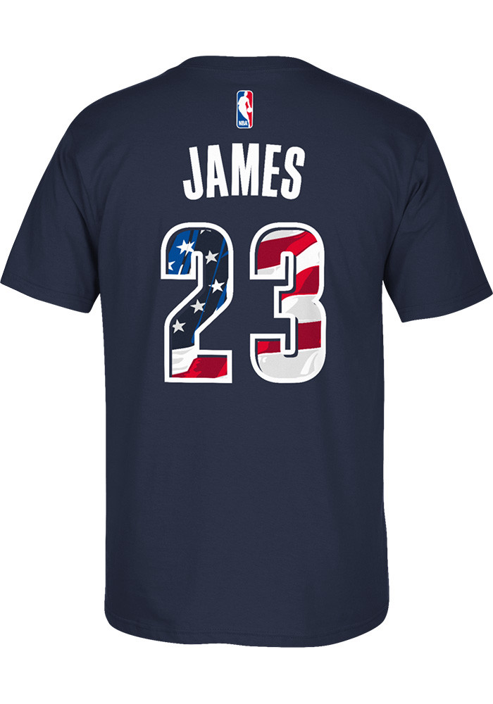 LeBron James Cleveland Cavaliers Mens Navy Blue Name and Number Short Sleeve Player T Shirt - Image 2