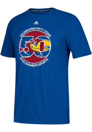 Adidas Kansas Jayhawks Mens Blue 50 Years Women's Sports Tee