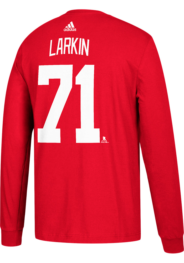 Dylan Larkin Detroit Red Wings Red Play Long Sleeve Player T Shirt - Image 1