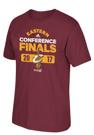 Adidas Cleveland Cavaliers Mens Maroon 2017 Conference Finals Tee