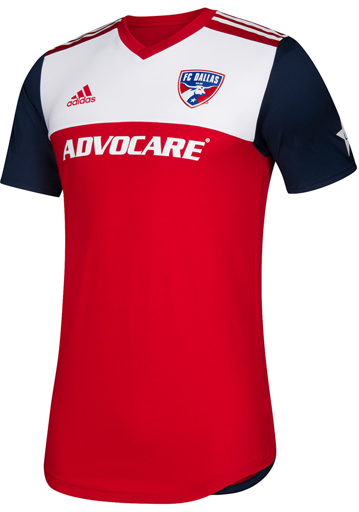new product fc2c4 ad6c2 FC Dallas Mens Adidas Authentic Soccer 2018 Primary Jersey - Red