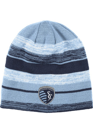 Adidas Sporting Kansas City Mens Blue Reversible Striped Knit Hat