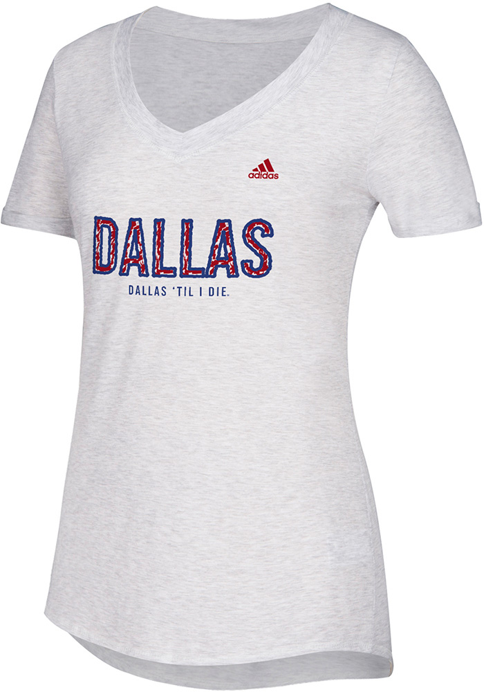 Adidas FC Dallas Womens White Over Inked V-Neck T-Shirt - Image 1