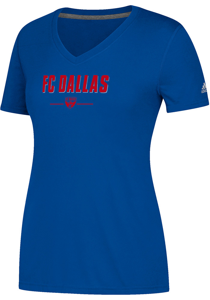 Adidas FC Dallas Womens Lined Up Too Blue Short Sleeve Tee