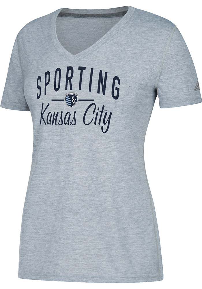 Adidas Sporting Kansas City Womens Ultimate Grey Short Sleeve Tee