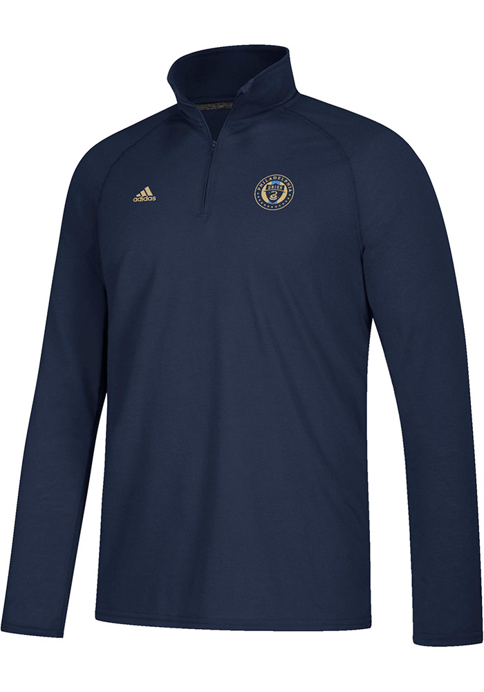 Adidas Philadelphia Union Mens Navy Blue LC Logo Set Long Sleeve 1/4 Zip Pullover - Image 1