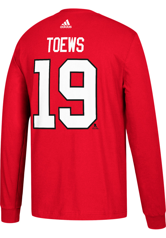 Jonathan Toews Chicago Blackhawks Red Play Long Sleeve Player T Shirt