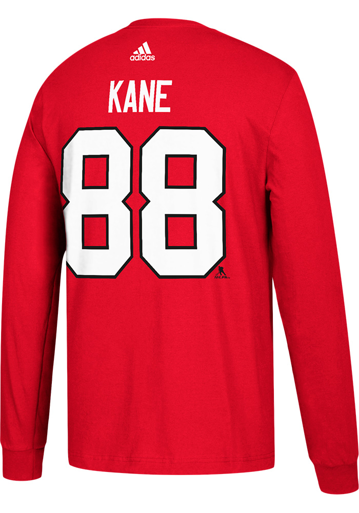 Patrick Kane Chicago Blackhawks Mens Red Play Long Sleeve Player T Shirt, Red, 100% COTTON, Size 2XL