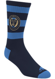 Philadelphia Union Adidas Rugby Stripe Crew Socks - Navy Blue