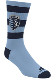 Sporting Kansas City Adidas Rugby Stripe Crew Socks - Light Blue
