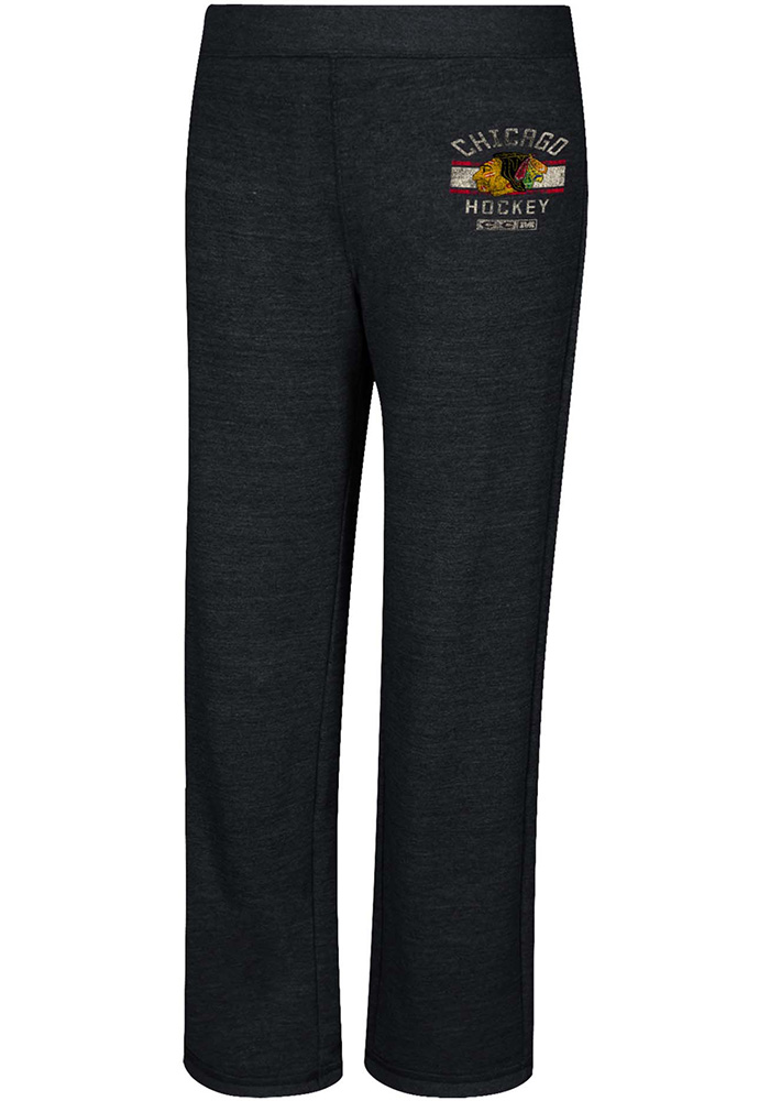 Chicago Blackhawks Womens CCM Hip Stripe Distress Grey Sweatpants - Image 1