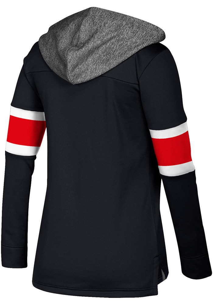 Adidas Chicago Blackhawks Womens Black Jersey Crewdie Hooded Sweatshirt - Image 2