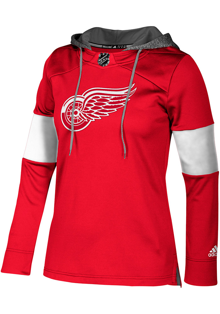 Adidas Detroit Red Wings Womens Red Jersey Crewdie Hooded Sweatshirt, Red, 100% POLYESTER, Size XL