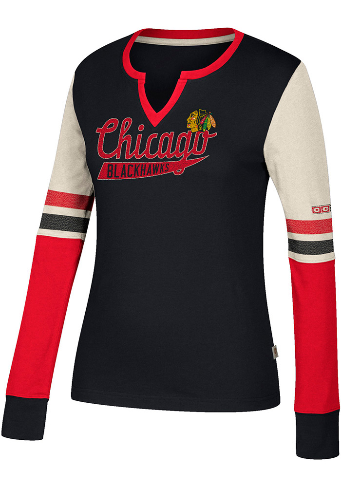 Adidas Chicago Blackhawks Womens Black CCM Henley Long Sleeve T-Shirt - Image 1
