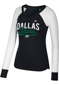 Adidas Dallas Stars Womens Black Elbow Patch T-Shirt